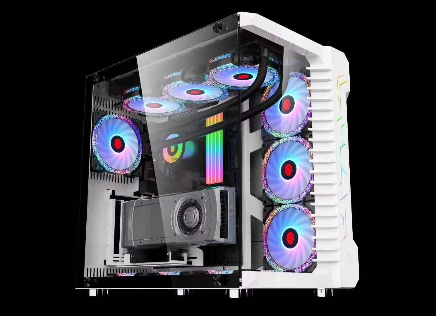 White Clear View 7 RGB fans gaming Case