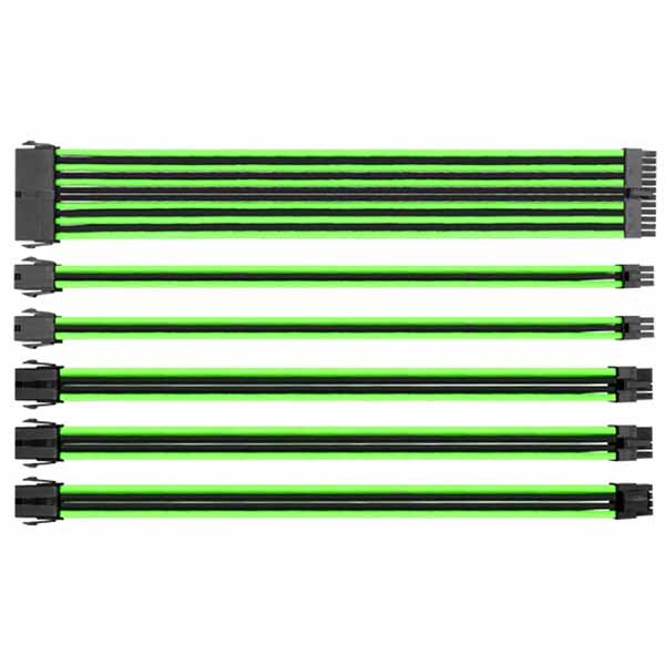 TtMod Sleeved Cable/ Black&Green/ 300mm/ combo pack