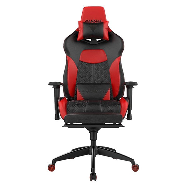 Gamdias Gaming Chair - Achilies P1 L - Black Red - RGB Light with Leg Rest